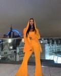 Maya Jama Dons Orange Balmain For Dinner With Friends