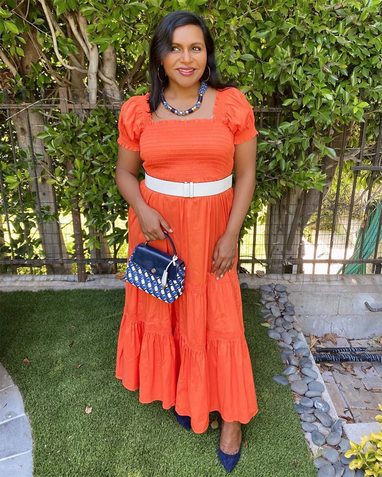 Mindy Kaling Celebrates National Tequila Day In Tory Burch