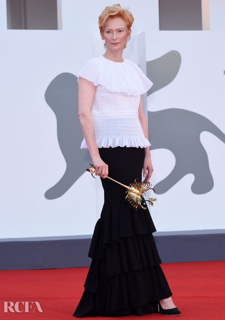 Tilda Swinton Wore Chanel Haute Couture To The 'Lacci' Venice Film Festival Premiere & Opening Ceremony