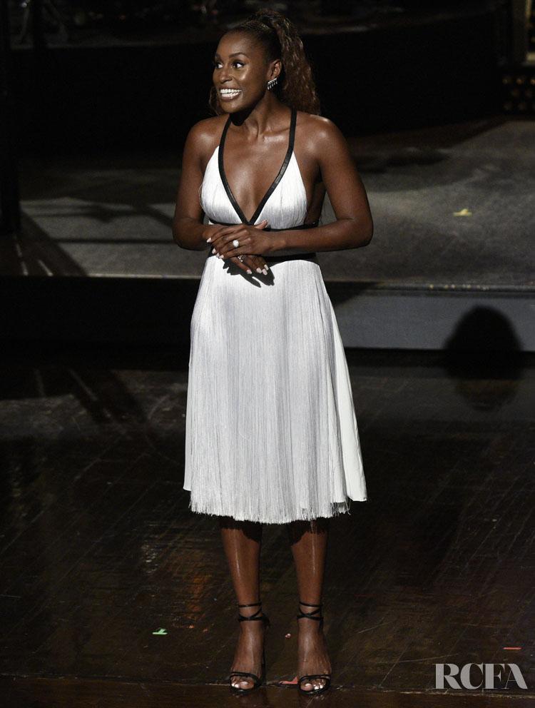 Issa Rae white fringe Christian Dior Dress SNL