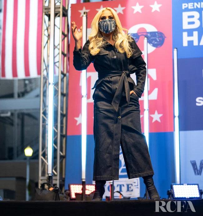 Lady Gaga Wore Alexander McQueen & Brandon Maxwell During Biden's Campaign Trail