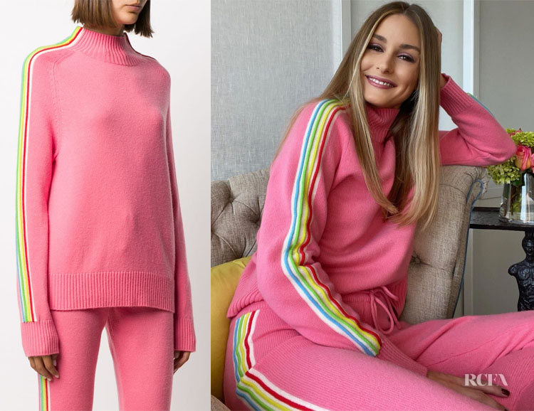 Olivia Palermo's Chinti and Parker Pink Striped Detail Jumper
