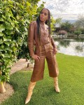 Kerry Washington's Frame Double Leather Backyard Photoshoot