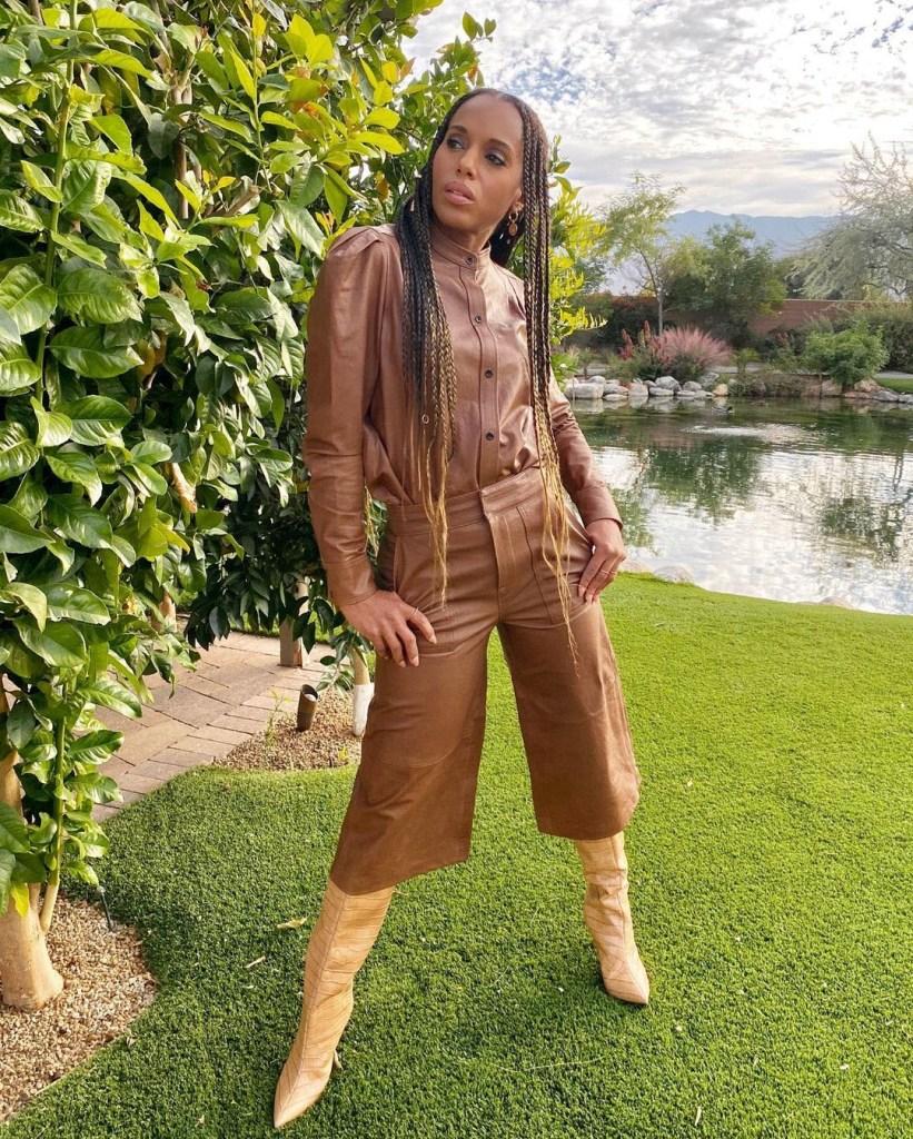 Kerry Washington's Frame Double Leather Backyard Photoshoot