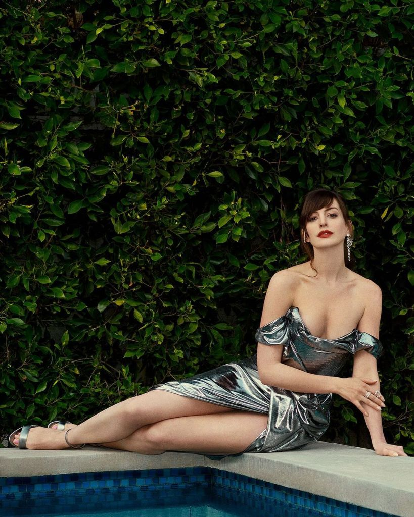 Anne Hathaway In Dolce & Gabbana Promoting Locked Down