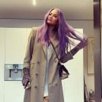 Chrissy Teigen Debuts Lavender Hair Wearing Envelope 1976