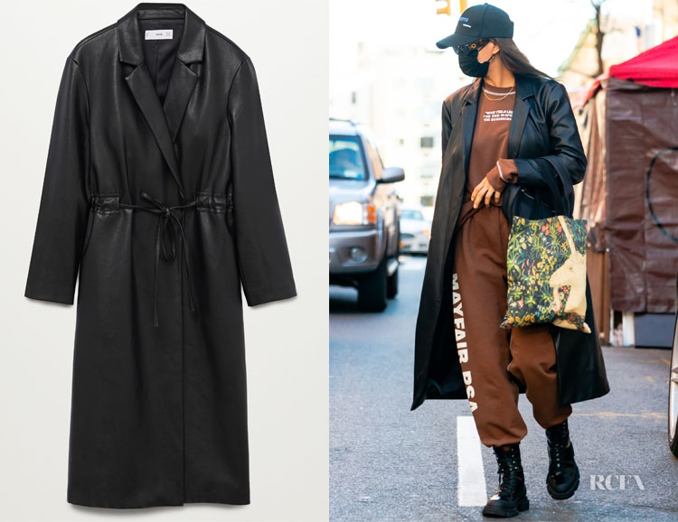 Irina Shayk's Mango Belt Leather-Effect Coat
