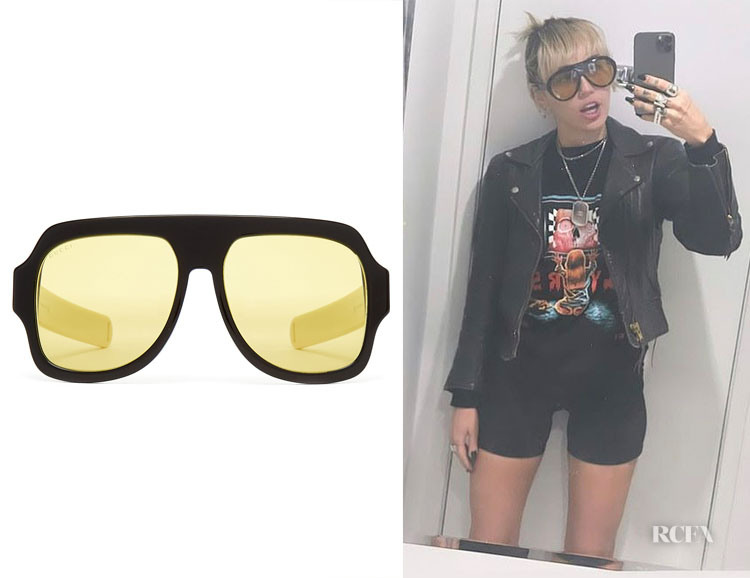 Miley Cyrus' Gucci D-Frame Acetate Sunglasses