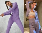 Brie Larson's Missguided  Lilac Zip Up Knitted Top
