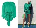 Kylie Jenner's The Attico Green Draped Dress & Devon Sandals