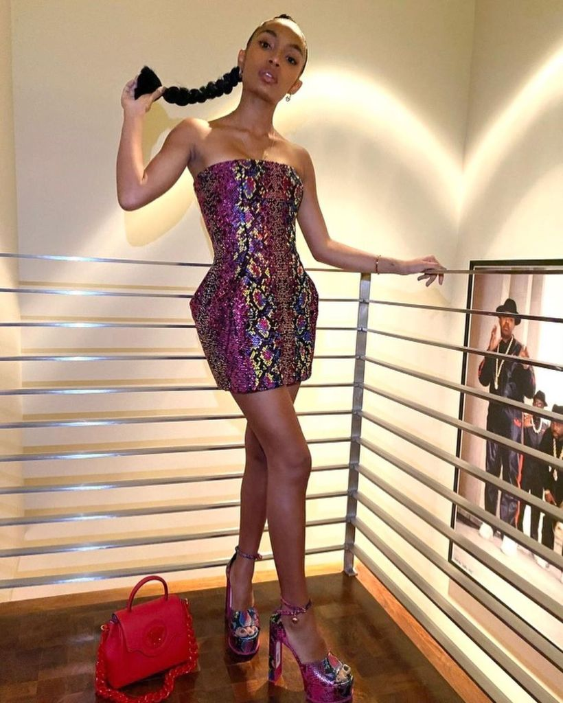 Yara Shahidi, Versace, Yara Shahidi Versace, Yara Shahidi Snake Print Dress, Versace Resort 2021, Versace Snake Print,