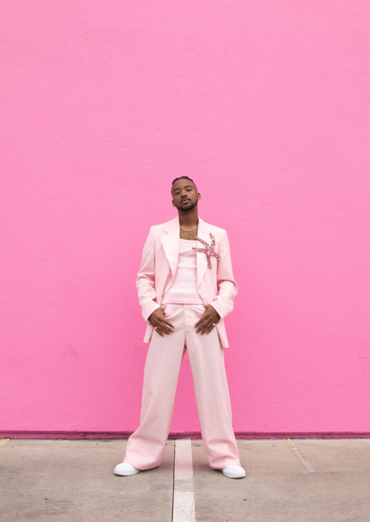 Algee Smith Versace Pink Suit 2021 Critics' Choice Awards