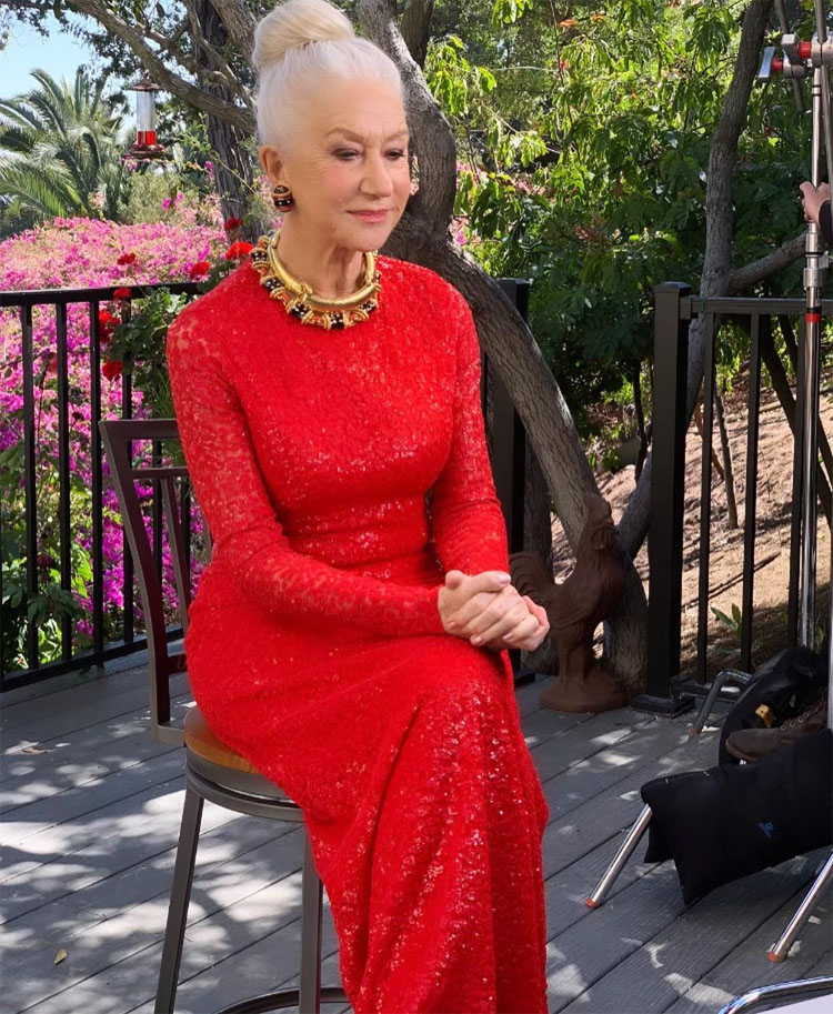 Helen Mirren Wore Badgley Mischka & Michael Kors Collection To The 2021 SAG Awards