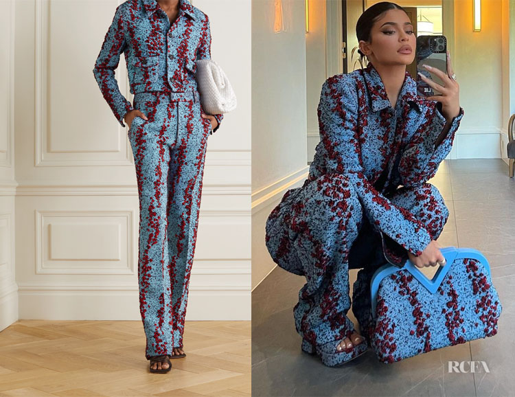 Kylie Jenner's Bottega Veneta Bouclé Cropped Jacket & Trousers