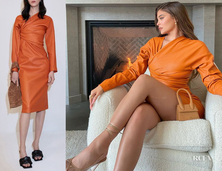 Kylie Jenner's Bottega Veneta Draped Leather Dress