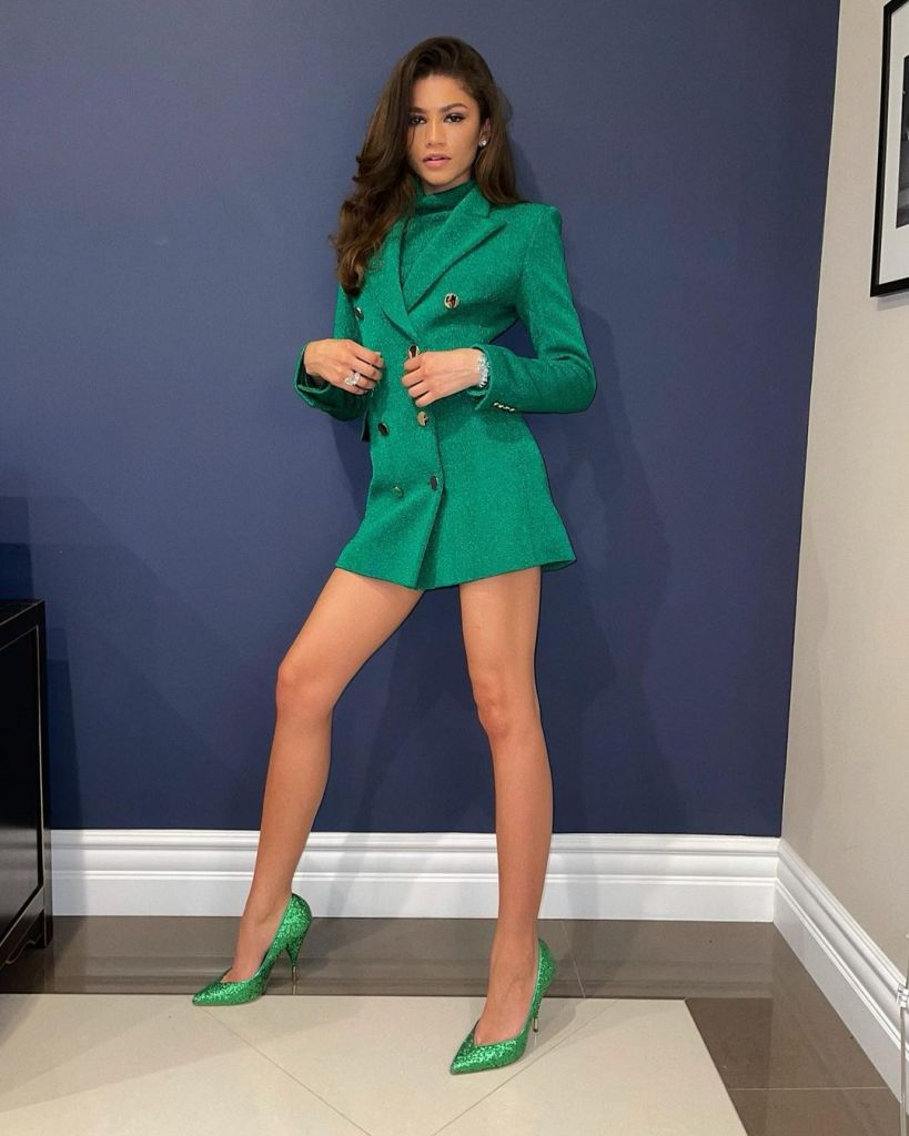 Zendaya Goes Monochrome In Green Pertegaz For The Santa Barbara International Film Festival