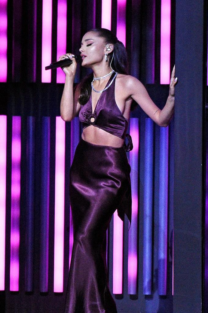 Ariana Grande Wore Rat & Boa Performing At The 2021 iHeartRadio Music Awards