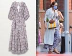 Blake Lively's MANGO V-Neck Open-Back Printed Maxi Dress