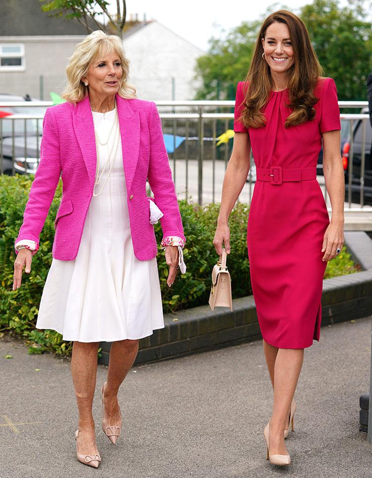 Catherine, Duchess Wore Alexander McQueen & Dr. Jill Biden Wore L'Agence & Akris For Cornwall School Visit