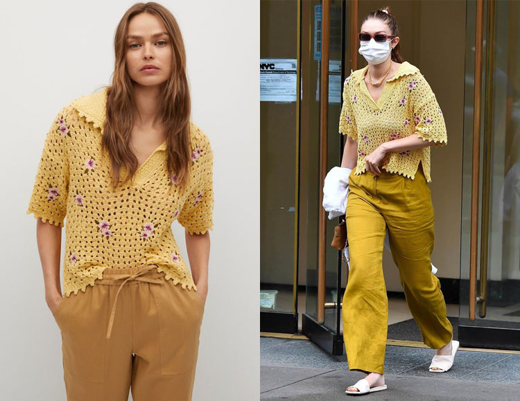 Gigi Hadid's MANGO Floral Crochet Polo