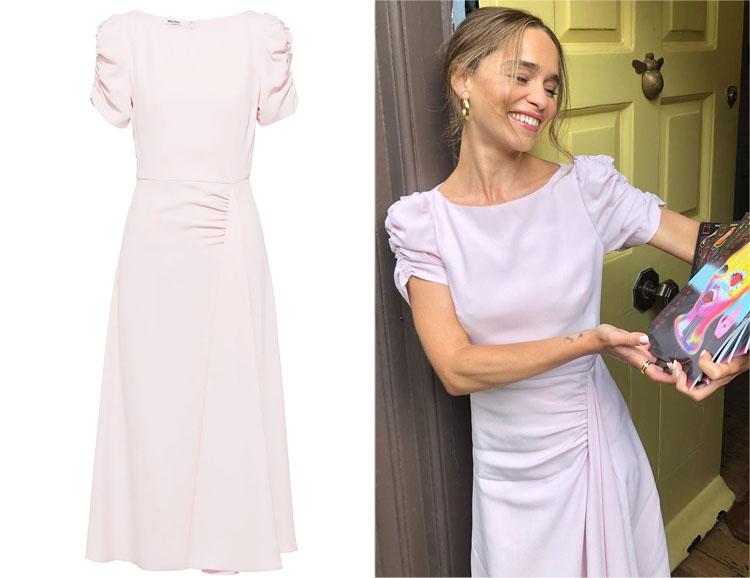 Emilia Clarke's Miu Miu Ruched Detail Pink Midi Dress
