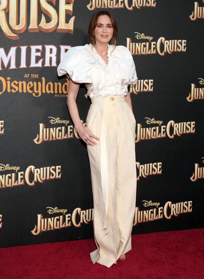 Emily Blunt Wore Schiaparelli To The 'Jungle Cruise' World Premiere