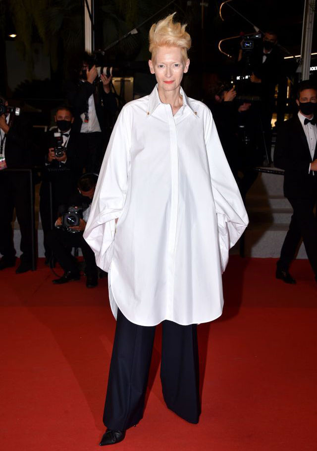 Tilda Swinton Wore Schiaparelli  To The 'Les Olympiades (Paris 13th District)' Cannes Film Festival Premiere