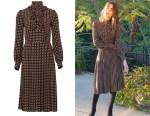 Lily Collins' Celine Polka Dot Knee-Length Frill Dress