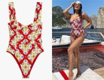 Vanessa Hudgens' WE WORE WHAT Vintage Danielle Baroque Tile One Piece