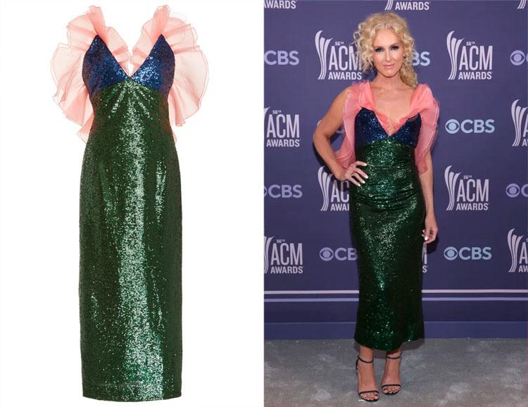 Kimberly Schlapman's Carolina Herrera Ruffle-Detailed Sequin Tulle Dress