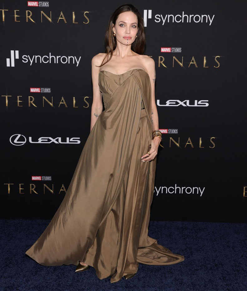 Angelina Jolie Wore Balmain To The 'Eternals' LA Premiere