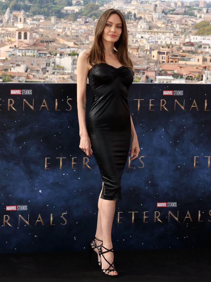 Angelina Jolie Wore Dolce & Gabbana To The 'Eternals' Rome Film Festival Photocall