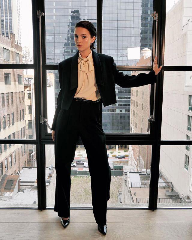 Ella Hunt Wore Celine Promoting 'Dickinson' Season 3