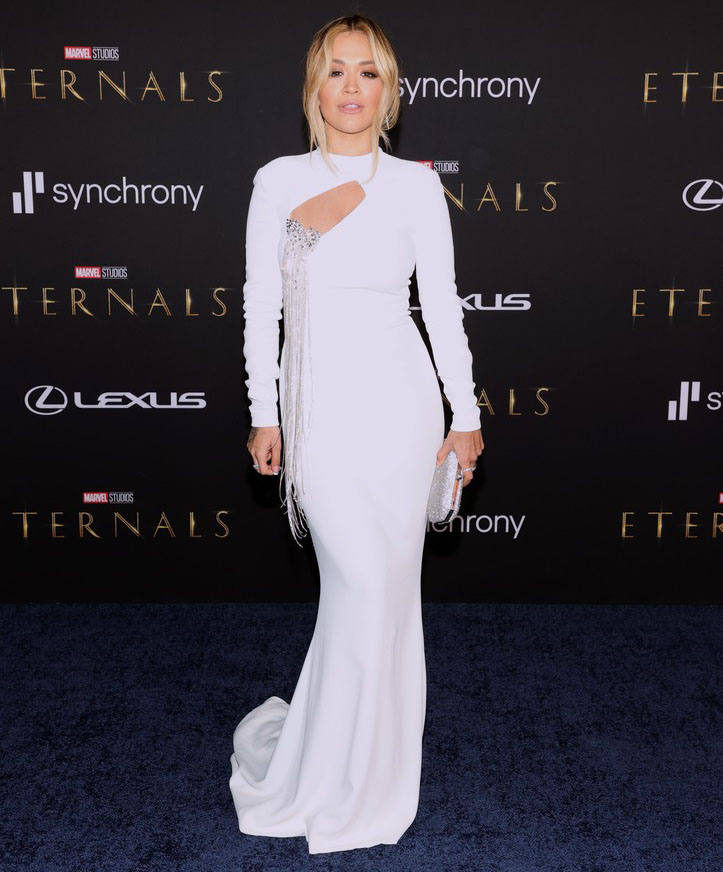 Rita Ora Wore Stéphane Rolland Haute Couture To The 'Eternals' LA Premiere