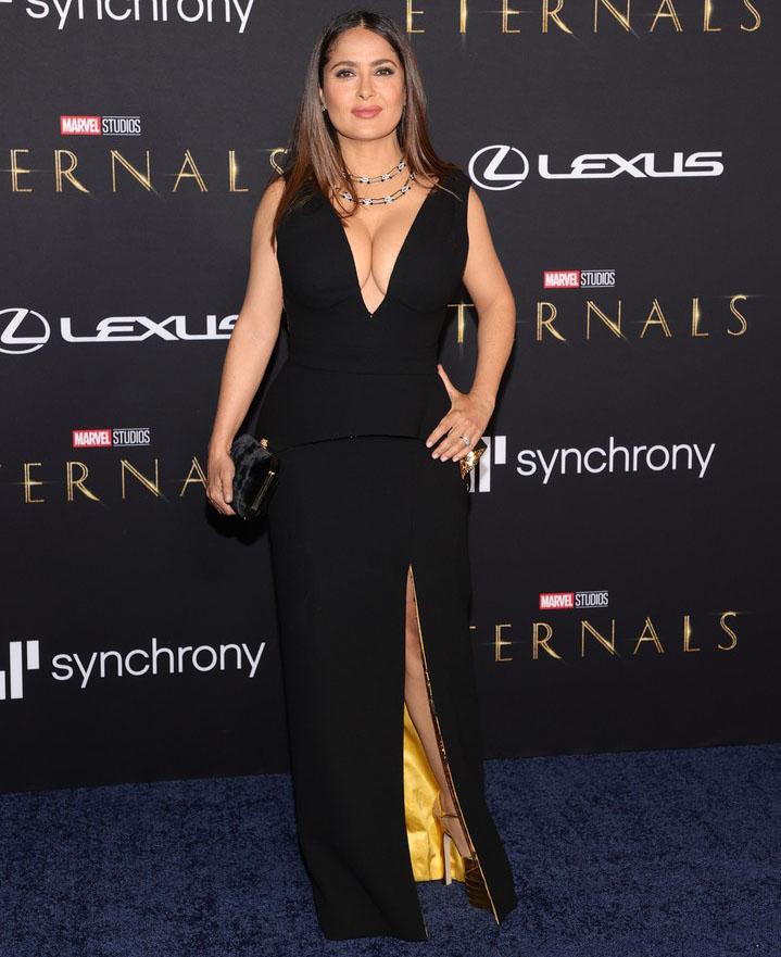 Salma Hayek Wore Gucci To The 'Eternals' LA Premiere