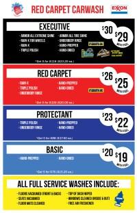 Red Carpet Car Wash - Red Carpet North - Car Wash Menu