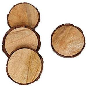 wood coasters made out of Christmas tree