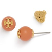 Tory Burch Coral Crystal Pearl Stud Earrings with T-Logo