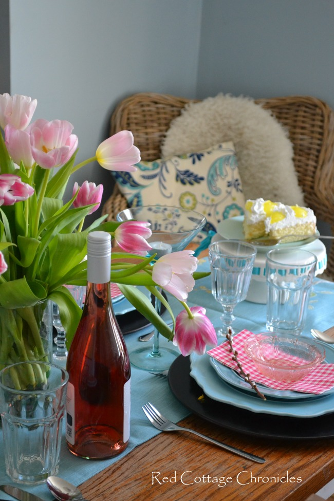 A colorful spring tablescape
