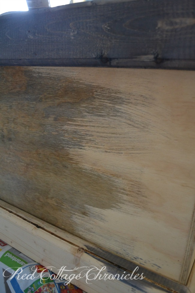 Aging wood with vinegar and steel wool solution