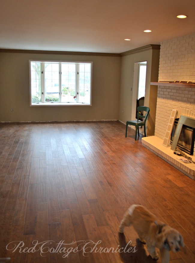 Hand scraped engineered hardwood floors update a 1980's living room