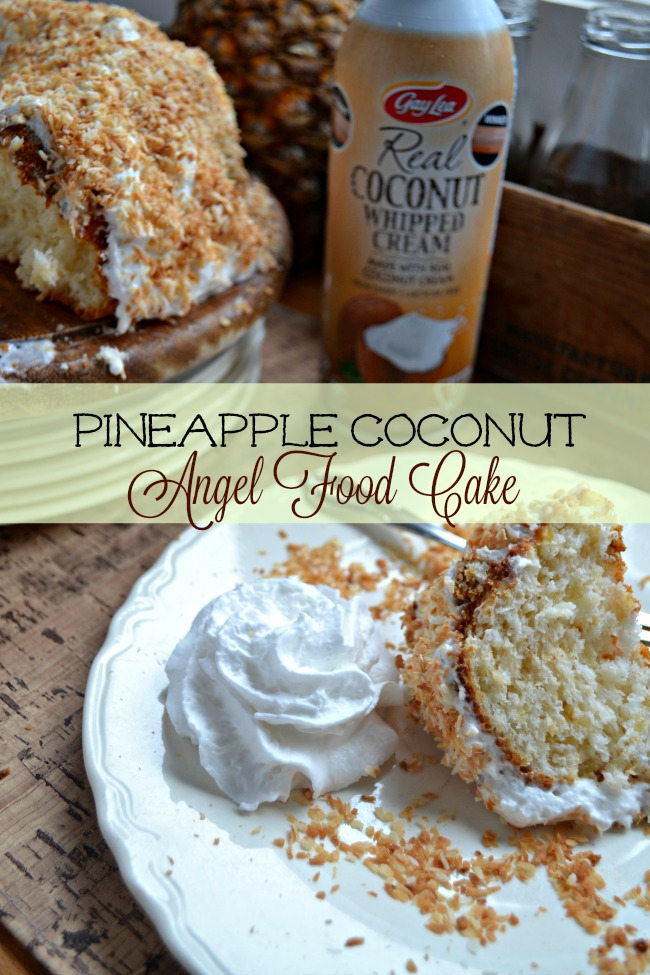 Gay Lea Coconut Whipped Cream tops a delicious pineapple angel food cake