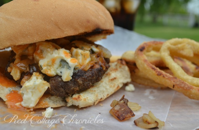 Buffalo Wing Burger with crumbled blue cheese