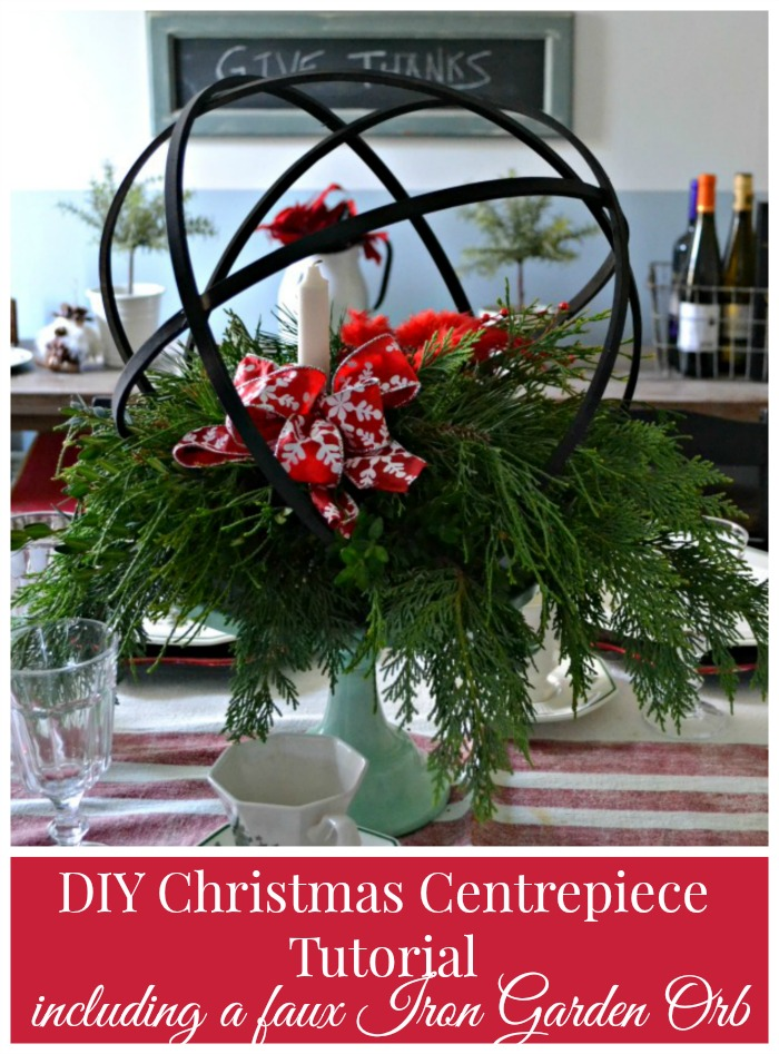 Easy diy christmas centerpiece including a faux iron orb