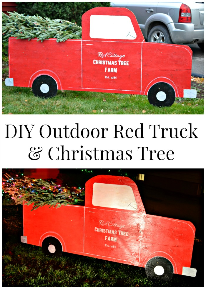 almost life size red truck christmas tree diy outdoor christmas decorations