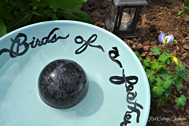 DIY birdbath ideas - fruit bowl turned birdbath