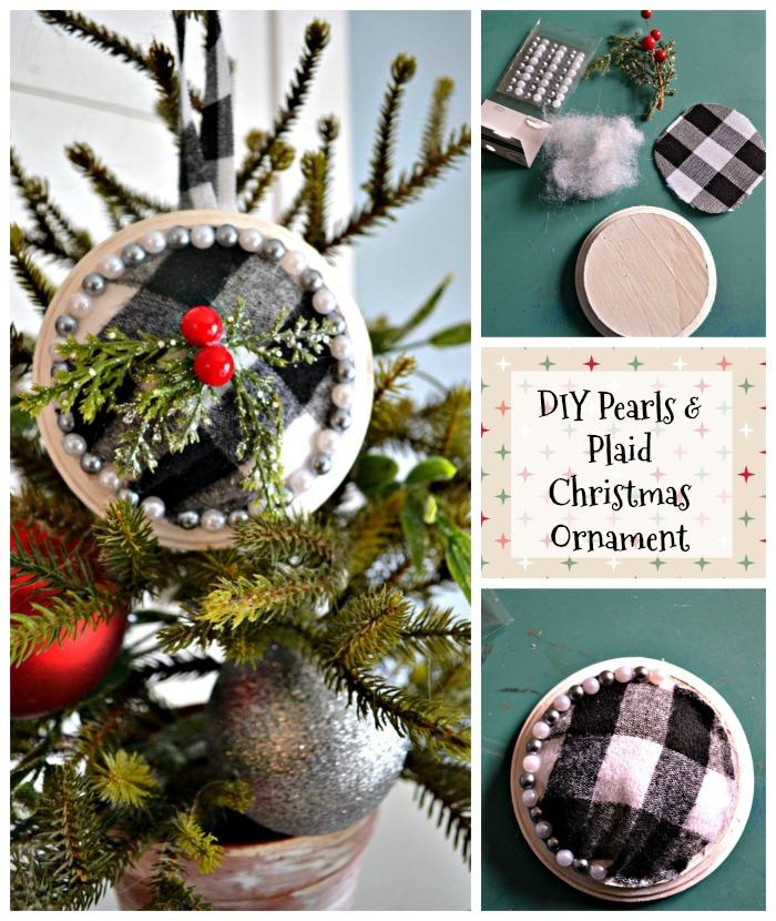 DIY Pearls and Plaid Christmas Ornament