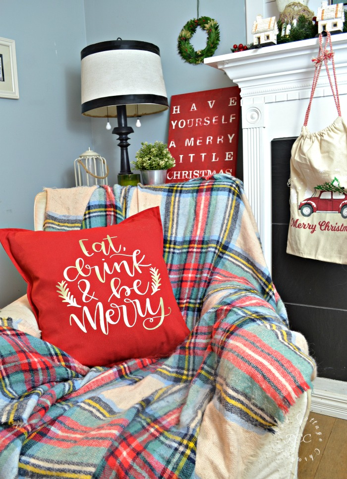 Christmas Brunch Pillow Cover Made with Cricut Maker