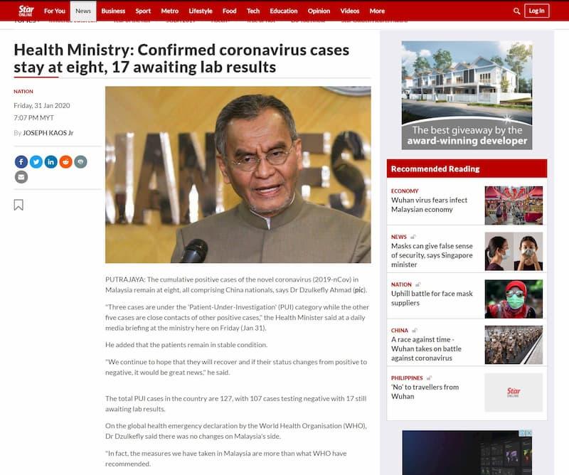 Wuhan virus Malaysia news as at 31st Jan 2020