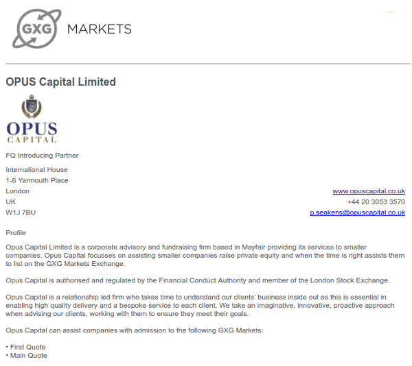 Opus Capital on GXG